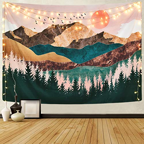 Mountain Tapestry Forest Tree Tapestry Sunset Tapestry Nature Landscape Tapestry Wall Hanging for Room(51.2 x 59.1 inches)