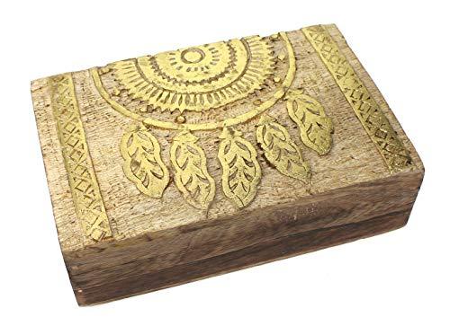 Schatulle Kästchen Traumfänger Motiv 21x13,5x6 cm, Holz natur gold bemalt Schatzkistchen Schmuckschatulle Box Holzbox Dreamcatcher