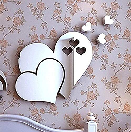 2 Set Stickers de Pared Espejo 3D Crystal Doble Love Heart Acrylic DIY Art Decalos de Pared Inicio Sala de Estar TV Fondo de Fondo Decoración-Plata