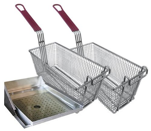 Cal Flame BBQ09902 Grill DEEP Fryer Helper Set Two Baskets with Handles, ONE Size FITS, Stainless Steel