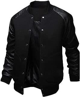 Mens Fashion Splicing Leather Sleeve Letterman Jacket Varsity Baseball Bomber Jacket