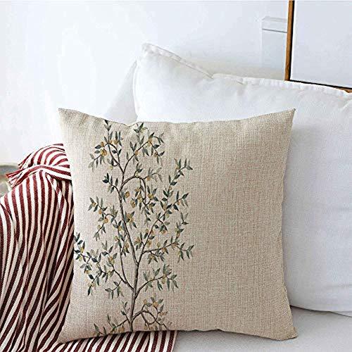 New-WWorld-Shop Kissenbezüge Laubbaum Saurer Zweig Gelbe Textur Früchte Bergamotte Zweige Muster Gartenblätter Kissenbezüge