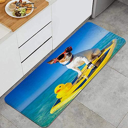 GEEVOSUN Perro surfeando en una Tabla de Surf con Gafas de Sol con un Pato de Goma de plástico Amarillo en la Orilla del océano Alfombrillas de Cocina Antideslizantes Felpudo Lavable