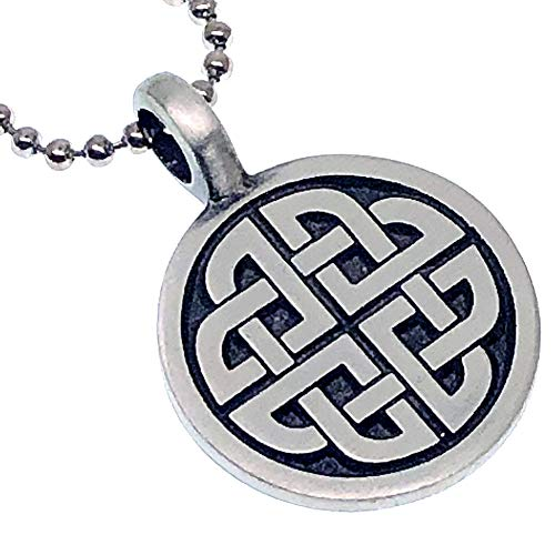 Norse Viking Jewelry Legendary Quaternary Celtic Knot Protection Amulet Pewter Unisex Women's Boy's Men's Pendant Necklace Charm for men w Silver Ball Chain