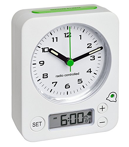 TFA-Dostmann Funk-Wecker Combo TFA 60.1511 Reisewecker Analogwecker (weiß-grün mit Batterien)