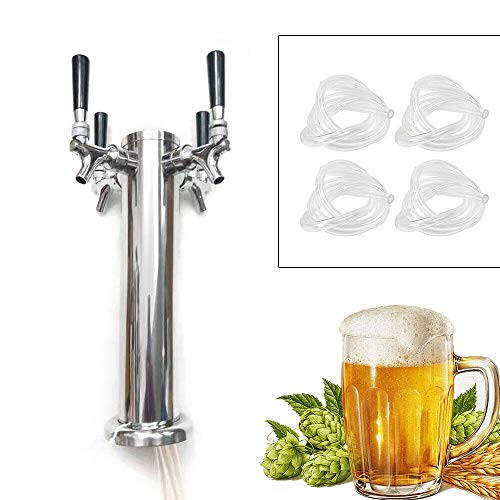 Fetcoi Grifo de 3/4 para cerveza de barril de acero inoxidable, grifo de cerveza para el hogar y el bar (4 cabezales)