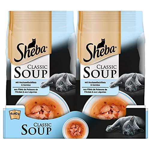 Sheba Classic Soup – Katzenfutter als Snack zur Ergänzung – Hochseefischfilets und Gemüse in einer köstlichen Suppe – 48 x 40g