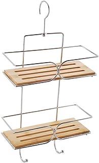 MSV 140610 Serveur de Douche d'Angle - Métal Chromé/Bambou 25 x 11 x 38,5 cm