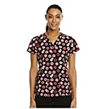 Maevn Coffee Date Printed Curved V-Neck Scrub Top (XX-Large, Coffee Date)