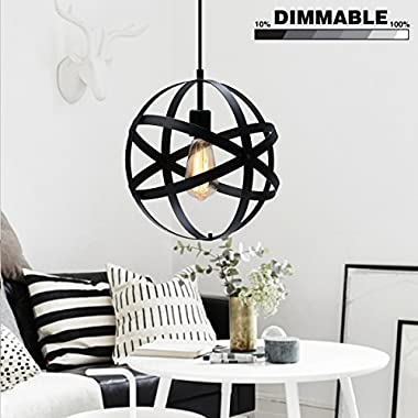 KingSo Industrial Metal Pendant Light, Spherical Ceiling Light Globe Hanging Light Fixture for Kitchen Island Dining Table Bedroom Hallway