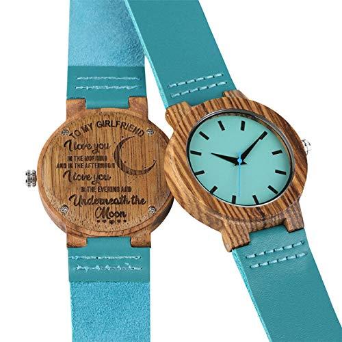 FANLLOOD Reloj de Madera Relojes de Madera para Mujer Talla Palabra 'A mi mamá/Esposa' Elegante y única Correa de Cuero Azul Reloj de Pulsera para Mujer Relojes Regalo de Novio, para mi Novia