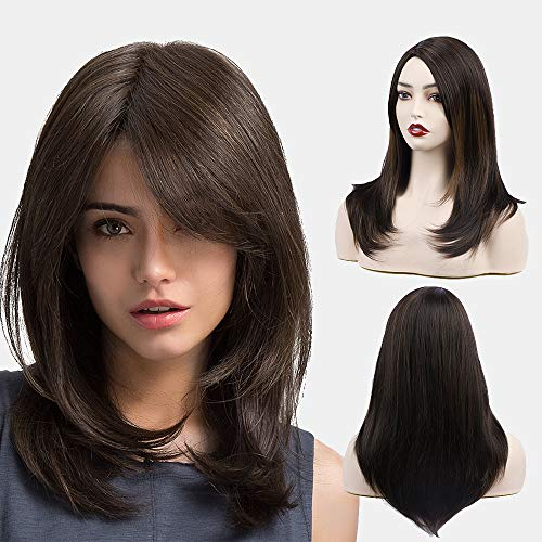FORCUTEU Brown Wigs for Women Medium Length Wig Synthetic Side Part Layered Wig Shoulde Length Women's Wigs