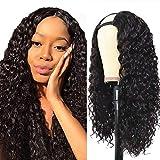 Perruque femme vrai cheveux naturel bresilien bouclée longue noir Afro U part half human hair wigs for black woman 100% real virgin deep curly 22inch 55cm