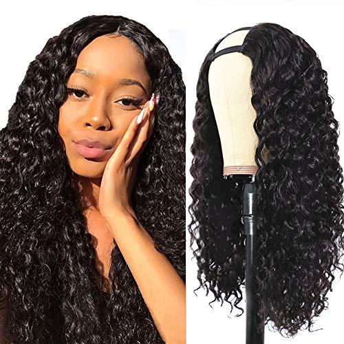 Pelo natural pelucas mujer ondas pelo natural rizado U Part Half human hair wigs for black woman humano peluca negra larga real virgin wig Extensiones deep curly