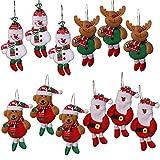 shanke12 decorazioni per albero di natale, decorazione natalizia per albero di natale (ciondolo di natale di 3 * pezzi delicati, 3 * pcs pupazzo di neve, 3 * pcs ren, 3 * pcs orso)