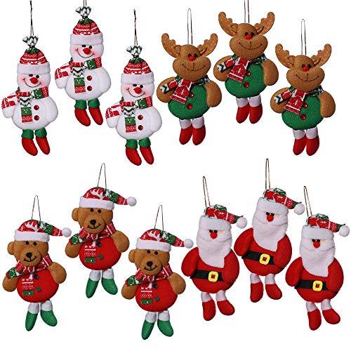 anaoo 12pcs Adornos decoración Colgante muñecos Santa muñeco de Nieve para árbol de Navidad decoración de Fiesta de Navidad-Merry Xmas Regalo