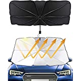 Parasol Coche Delantero Protector, Parabrisas Parasol, Plegable Coche Parasol, Coche Anti UV Rayos Paraguas, para Cubiertas de Parabrisas de Automóviles, Camiones, Automóviles (Negro)