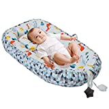 Baby Lounger, Baby Nest with Pillow, Folding Portable Newborn Cotton Bed Infant Cotton Co-Sleep Bassinet, Breathable & Soft for Travel Bedroom Outdoor (Dinosaur (Color))