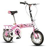 Bicicleta Plegable para niños, 12-14-16-20 Pulgadas para niños y niñas Bicicleta para niños 6-8-10-12 años Cochecito de bebé (Color : Pink-A, Tamaño : 12 Inch)