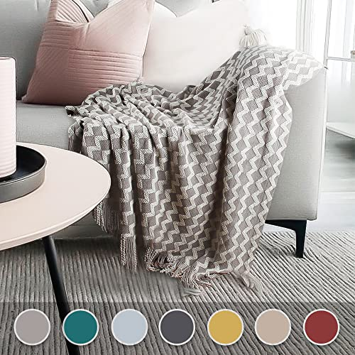 BalladHome Strickdecke Sofadecke Gestrickte Decke mit Quaste Kuscheldecke Wohndecke Tagesdecke Couchdecke für Fernsehen oder Nap auf dem Stuhl/Büro- (Grau, 140X220cm)