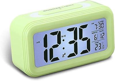 KOBWA - Reloj despertador digital con batería y pantalla grande, multifunción, con pantalla LCD