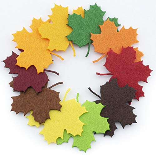 Summer-Ray 100 Felt Maple Leaves Laser Cutout Embellishment Green Brown Autumn Shades