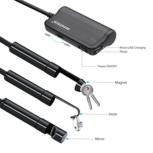 Wireless Endoscope,DEPSTECH 2.0 MP HD WiFi Borescope IP67 Waterproof Inspection Camera,16 inch Focal Distance & 2200mAh Battery Snake Camera for Android & iOS Smartphone Tablet - Black 33FT