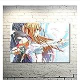 Tiiiytu Sword Art Online 2 Kirito Asuna Póster Impreso Imágenes De Anime para Decoración De Habitación De Dormitorio Arte De Pared -50X70Cm Sin Marco