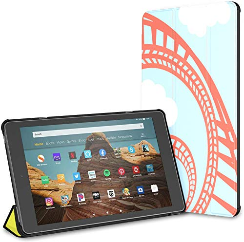 Case for All-New Amazon Fire Hd 10 Tablet (7th and 9th Generation,2017/2019 Release),Slim Folding Stand Cover with Auto Wake/Sleep for 10.1 Inch Tablet, Rollercoaster Amusement Park Young Smiling Man