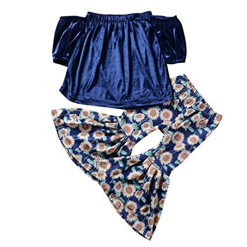 HaiQianXin 2 stks/set Mode Baby Boot Nek Shirt Tops+Zonnebloem Bloem Flare Broek Outfits Suit (Maat: 6-7T)