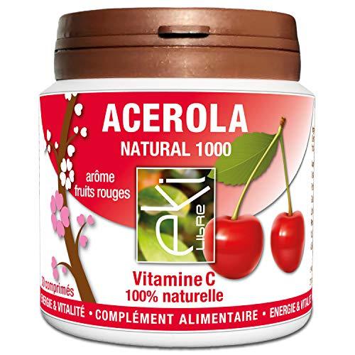 Acérola Vitamine C 100% Naturelle | 30 comprimés | Vitalité Et Tonus | 1000 mg | Super goût fruit rouge naturel |Ne colle pas aux dents | EKI LIBRE