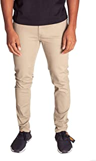 KDNK Men's Skinny Fit Stretch Twill 5 Pocket Zip Fly Classic Solid Color Pants