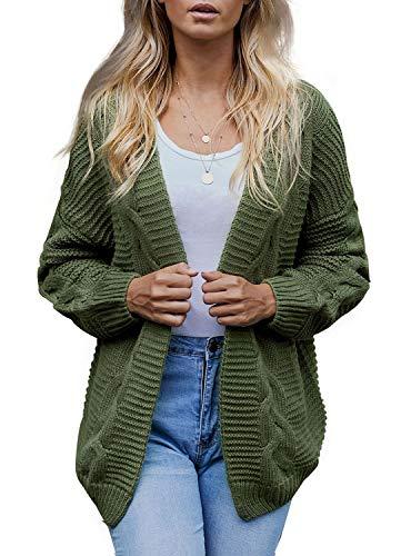 Hikaro Damen Langarm Strickjacke Herbst Winter Cardigan Strickmantel Casual Open Front Sweater Pullover Coat Outwear Grün M