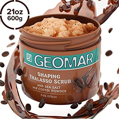 Geomar Coffee Body Scrub - Large 21oz Exfoliating and Skin Renewing Natural Scrub - Arabica Coffee Powder, Dead Sea Salt, Volcanic Sand, Guarana and Capsicum Pythoextacts