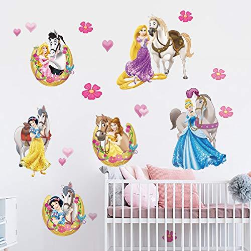decalmile Wandtattoo Prinzessin mit Pferd Wandsticker Schneewittchen Mädchen Babyzimmer Kinderzimmer Schlafzimmer Wanddeko
