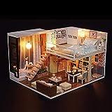 Blusea DIY Häuser für Minipuppen, Miniatur Loft Puppenhaus Kit Realistische Mini 3D Holzhaus...