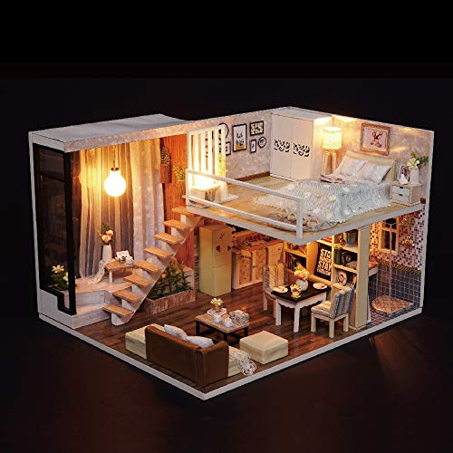 Blusea DIY Häuser für Minipuppen, Miniatur Loft Puppenhaus Kit Realistische Mini 3D Holzhaus Zimmer Spielzeug mit Möbel LED-Leuchten Weihnachten Kindertag Geburtstagsgeschenk