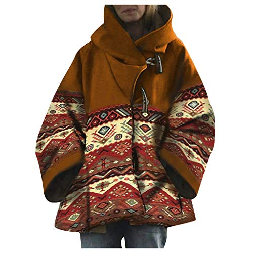 Binggong Damen Jacke Mantel Retro Button Coat Outwear Winddicht Kapuzenmantel Frauen Gothic Steampunk Kapuzenjacke Große Größen Druck Winterjacke Windbreaker