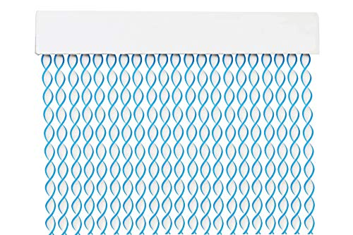 MERCURY TEXTIL Cortina para Puerta Tiras PVC 200x90cm,Cortina para Puerta Exterior,10 Color (Blanco+Filo Azul)