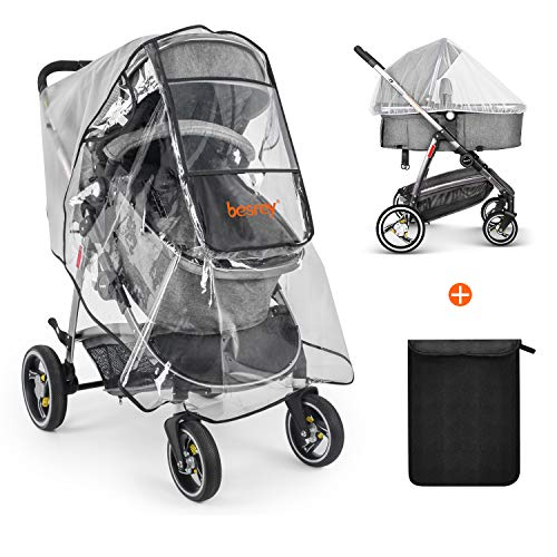 besrey Universal Rain Cover for Stroller Pushchair pram Buggy with Mosquito net Rainproof Wind Cover for Baby Pushchair - Transparent