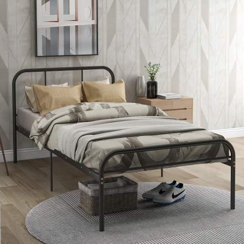 wanghai Metallbett Bettgestell mit geschwungenes Kopfteil Doppelbett für Erwachsene und Kinder Jugendliche Schlafzimmer Metall-Plattformbettrahmen Schwarz 90x200cm