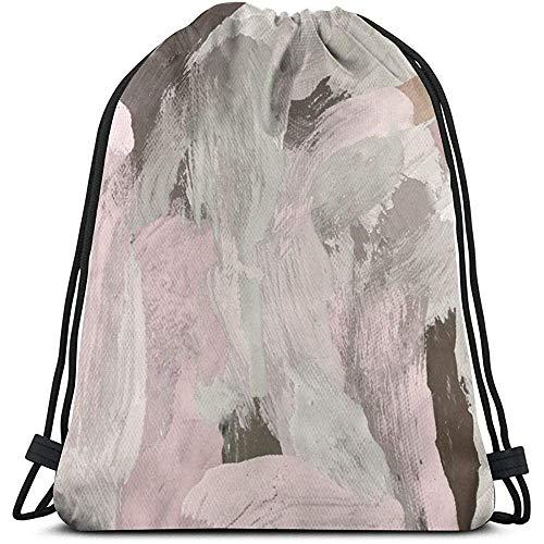 Gym Drawstring tas, roze olieverfschilderij canvas Tote rugzak zak zak gym zak tas voor reizen strand uniform opbergtas