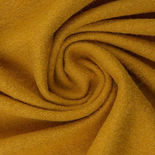Walkloden Walkstoff 100% Schurwolle, 0,5 m, Stoffe, Trachtenstoff, Meterware (Senf)