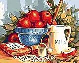 Pintar por Numeros,Fruta y Leche para Adultos, Estudiantes,Principiantes,DIY Decoraciones para el Hogar (Sin Marco, 40x50CM)