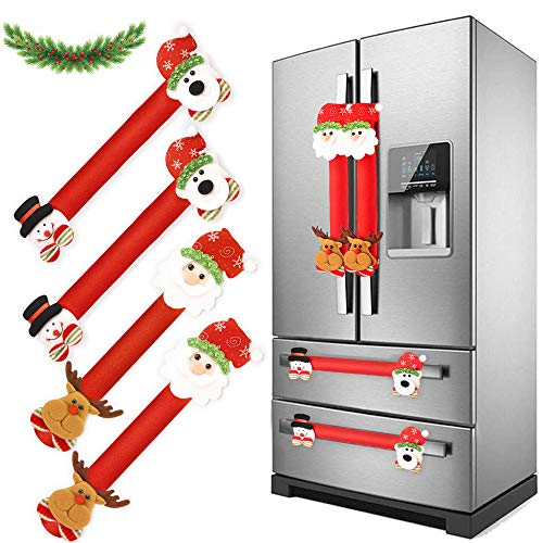 HomeChi Christmas Refrigerator Door Handle Covers, 4 Pieces Santa Snowman Reindeer Kitchen Appliance Handles Decor Fridge Microwave Oven Dishwasher Handle Protector from Fingerprints Drips Food Stains (Flannel)