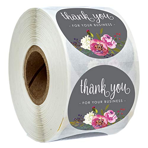 """1.5"""" Round Floral Thank You for Your Business Stickers / 500 Labels Per Roll"""