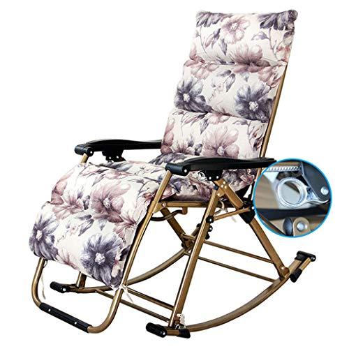 YFF-Tumbonas Mecedora portátil al Aire Libre con Cojines Sillón reclinable Plegable al Aire Libre Silla de Camping para Acampar Piscina MAX.550lbs