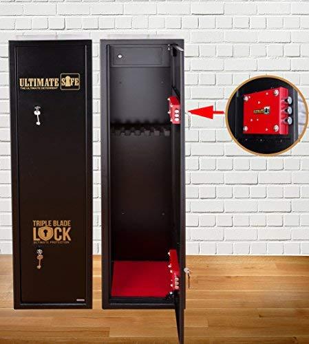 """Dotata di due serrature Triple Blade Lock progettato e realizzato da Ultimate Safe. Dimensioni approssimative del prodotto: Altezza - 145cm (4ft 8 """"), la larghezza - 35 centimetri (14""""), di profondità - 30 centimetri (12 """") Peso: 48 kg. La larghezza ..."""