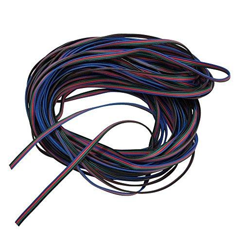 RGB Cable de extension - SODIAL(R) 4 colores 10M RGB alambre linea cable de extension para LED tira RGB 5050 3528 cuerda