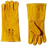Acme Safewell LG-808 Red Split Welding Gloves with lining, Yellow, Economy, Pack of 1 Pair